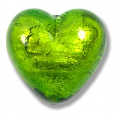 1 Murano Glass Verde Erba Silver Foiled 20mm Heart