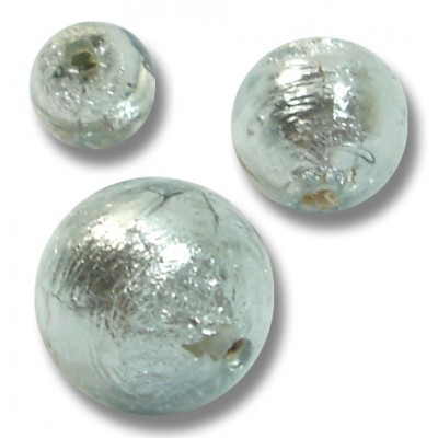 1 Murano Glass Black Diamond Silver Foiled 14mm Round Bead