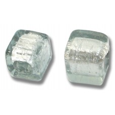 Pair Murano Glass Black Diamond Silver Foiled Cube Beads