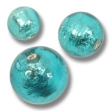 1 Murano Glass Silver Foiled Verde Marino 14mm Round Bead
