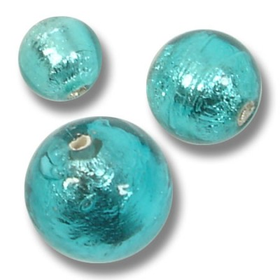 10 Murano Glass Verde Marino Silver Foiled 6mm Beads