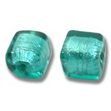 Pair Murano Glass Verde Marino Silver Foiled 8mm Cube Beads