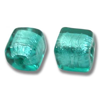 Pair Murano Glass Verde Marino Silver Foiled Cube Beads