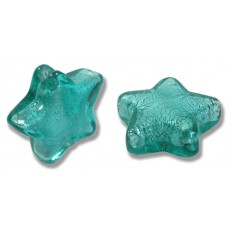1 Murano Glass Verde Marino Silverfoiled Star Bead 20mm.