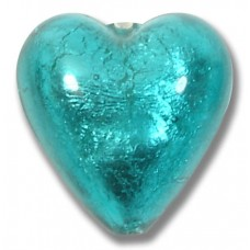 1 Murano Glass Verde Marino Silver Foiled 20mm Heart