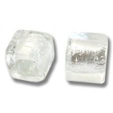 Pair Murano Glass Crystal Silver Silver Foiled 8mm Cube Beads