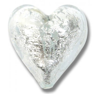1 Murano Glass Crystal Silver Silver Foiled 20mm Heart