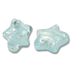 1 Murano Glass Aquamarine Silverfoiled Star Bead 20mm.