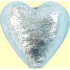 1 Murano Glass Aquamarine Silver Foiled 20mm Heart