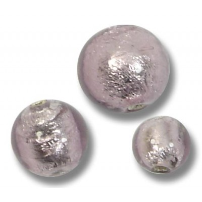 10 Murano Glass Silver Foiled Light Amethyst 6mm Round Beads