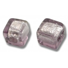 Pair Murano Glass Light Amethyst Silver Foiled 8mm Cube Beads
