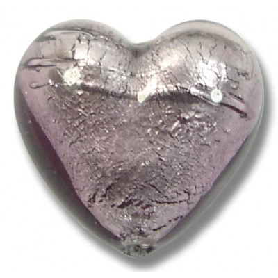 1 Murano Glass Light Amethyst Silver Foiled 20mm Heart