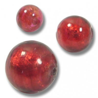1 Murano Glass Rubino Gold Foiled 12mm Round Bead