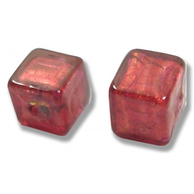 Pair Murano Glass Rubino Gold Foiled Cube Beads
