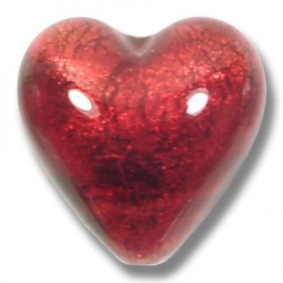 1 Murano Glass Rubino Gold Foiled 20mm Heart