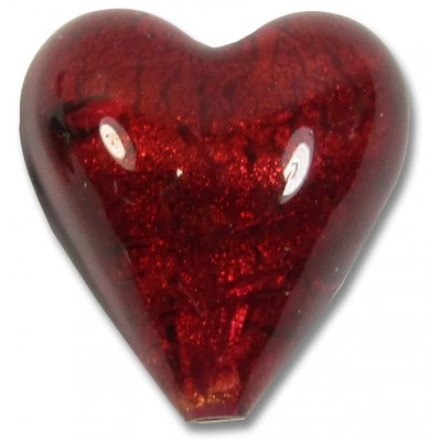 1 Murano Glass Rubino Gold Foiled 20mm Heart