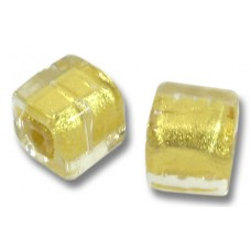 Pair Murano Glass Gold Foiled Clear 8mm Cube Beads