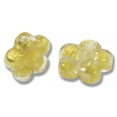 Pair Murano Glass Gold Foiled Clear Flower Beads