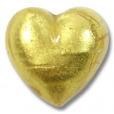 1 Murano Glass Gold Foiled Clear 20mm Heart
