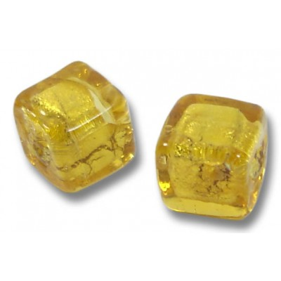 Pair Murano Glass Gold Foiled Topaz Cube Beads