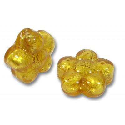 Pair Murano Glass Gold Foiled Topaz Flower Beads
