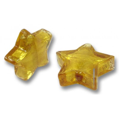 Pair Murano Glass Gold Foiled Topaz Star Beads