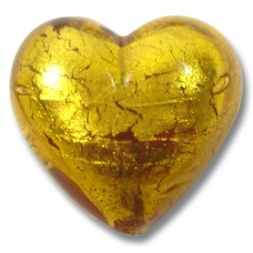 1 Murano Glass Gold Foiled Topaz 18mm Heart