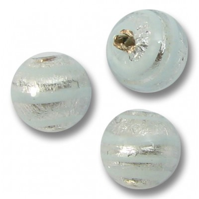 10 Murano Glass Silver Foiled with Aqua Spiral 8mm Round Beads