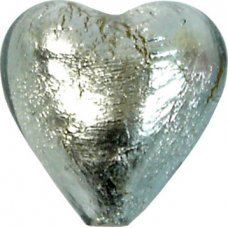 1 Murano Glass Black Diamond Silver Foiled 20mm Heart