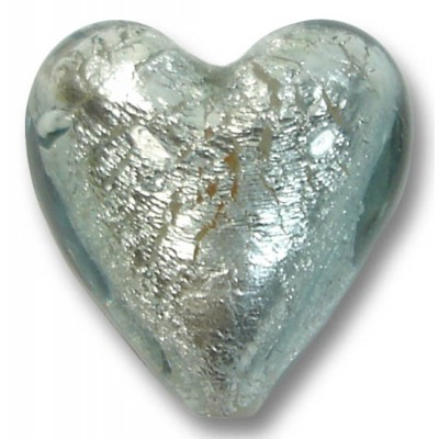 1 Murano Glass Black Diamond Silver Foiled 20mm Heart