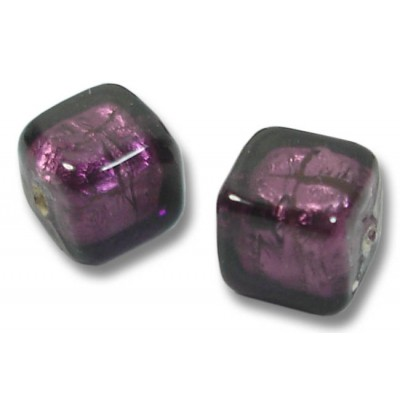 Pair Murano Glass Amethyst Silver Foiled 8mm Cube Beads