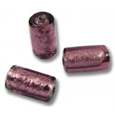 10 Murano Glass Amethyst Silver Foiled cylinder Beads