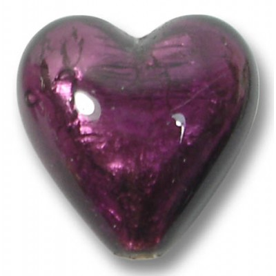 1 Murano Glass Amethyst Silver Foiled 20mm Heart
