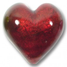 1 Murano Glass Rubino Gold Foiled 28mm Heart