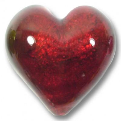 1 Murano Glass Rubino Gold Foiled 28mm Heart