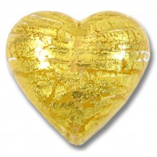 1 Murano Glass Gold Foiled Clear 30mm Heart
