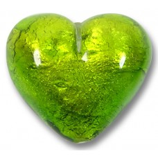 1 Murano Glass Verde Erba Silver Foiled 30mm Heart