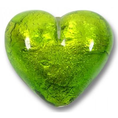 1 Murano Glass Verde Erba Silver Foiled 30mm Heart