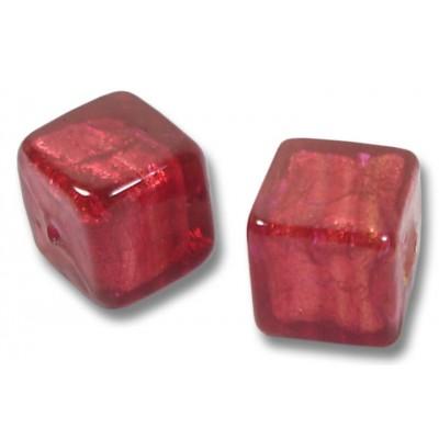 1 Murano Glass Rubino Gold Foiled 10mm Cube Bead