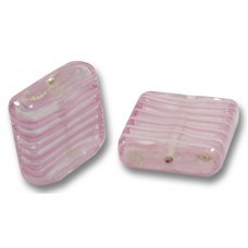 1 Murano Glass Silver Foiled with Pink Spiral Spangle Bead