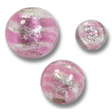 10 Murano Glass Silver Foiled Rose 8mm Round Beads