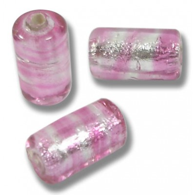 10 Murano Glass Silver Foiled Rose cylinder Beads