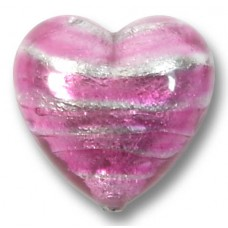 1 Murano Glass Silver Foiled Rose 16mm Heart
