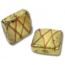 1 Murano Glass Grata Rubino Goldfoil Spangle Bead