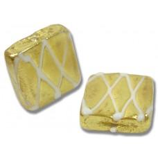1 Murano Glass Grata Bianco Goldfoil Spangle Bead