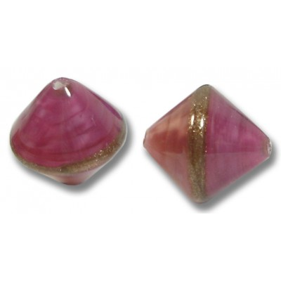 1 Murano Glass Rose/ Ruby Gold Aventurine Satin Bicone Bead