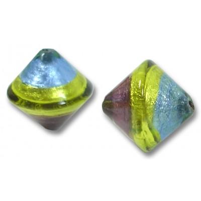 1 Murano Glass Sapphire/ Verde/ Amethyst Silver Foiled Bicone Bead