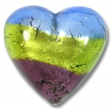 1 Murano Glass Sapphire Lime and Amethyst Tricolour Silver Foiled 20mm Heart