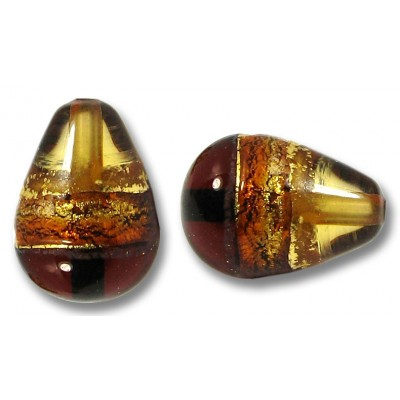 1 Murano Glass Serale Topaz Gold Foiled Clear Drop Bead