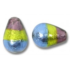 1 Murano Glass Sapphire Lime and Amethyst Tricolour Silver Foiled Drop Bead